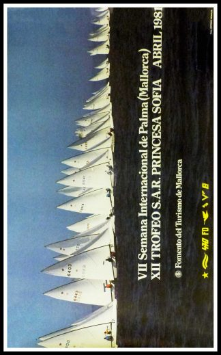 "(alt=""Original vintage poster International Week Of Palma, Princess Sofia Trophy, 1981 realised by Antonio Henales (photo) and printed by Mallorca tourism"")"