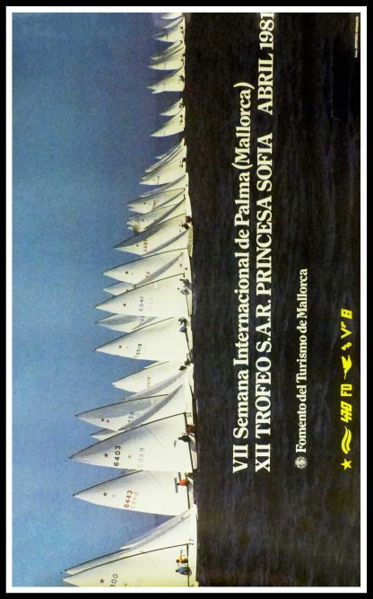 """(alt=""""Original vintage poster International Week Of Palma, Princess Sofia Trophy, 1981 realised by Antonio Henales (photo) and printed by Mallorca tourism"""")"""