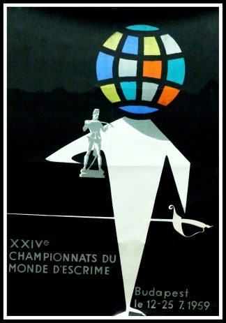"(alt=""Original vintage poster World Fencing Championships Budapest, 1959 signed in the plate by Vajda and printed by unkown"")"