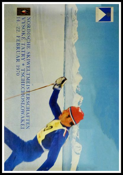 """(alt=""""Original vintage poster Nordic World Ski Championships in Czechoslovakia, 1970 realisation unkown and printed by the FIS"""")"""