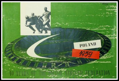 """(alt=""""Original vintage sport poster, 40 Years Of The Polish Athletic Federation - POLAND 1959 signed in the plate by Wilma and printed by Dom Slowa"""")"""