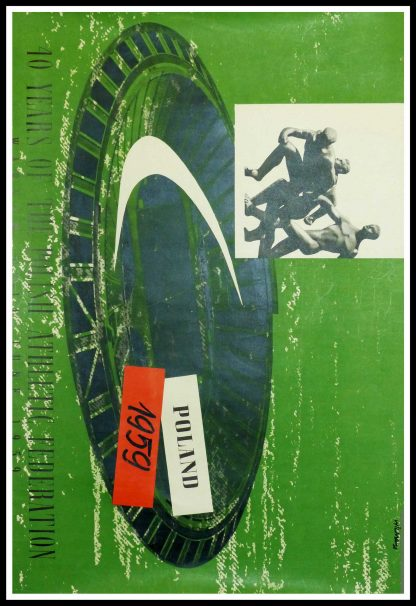 """(alt=Original vintage sport poster, 40 Years Of The Polish Athletic Federation - POLAND 1959 signed in the plate by Wilma and printed by Dom Slowa"""")"""
