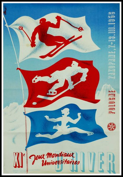 """(alt=""""Original vintage poster, XI World University Winter Games in Poland - 1956 signed in the plate by Pek55 and printed by : L'UIE"""")"""
