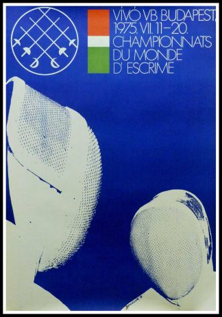 "(alt=""Original vintage poster World Fencing Championships in Hungary, 1975 signed in the plate by Benczgir and printed by Tabor Itsvan"")"