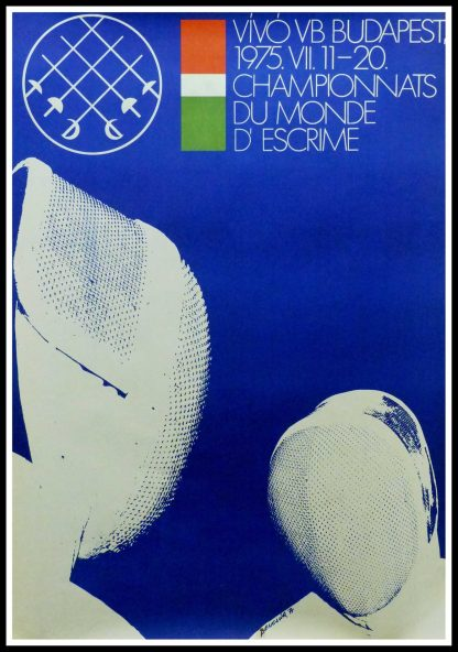 """(alt=""""Original vintage poster World Fencing Championships in Hungary, 1975 signed in the plate by Benczgir and printed by Tabor Itsvan"""")"""