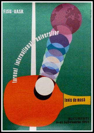 "(alt=""Affiche ancienne originale Tournoi international universitaire de tennis de table en Roumanie 1959 signée par N. Russu, imprimeur : inconnu"")"