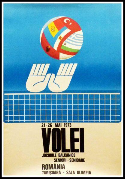 """(alt=""""Affiche originale de sport - Championnats des Balkans de Volleyball en Romania - 1973, réalisation et impression : inconnue"""")"""