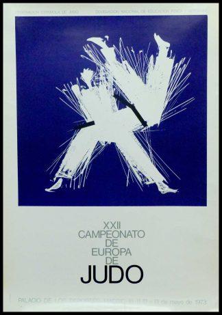 """(alt=""""Affiche originale XXII Championnats du monde de judo 1973 à Madrid signée dans la planche par Santa Maria et imprimée par Graphica Reunidas"""")"""