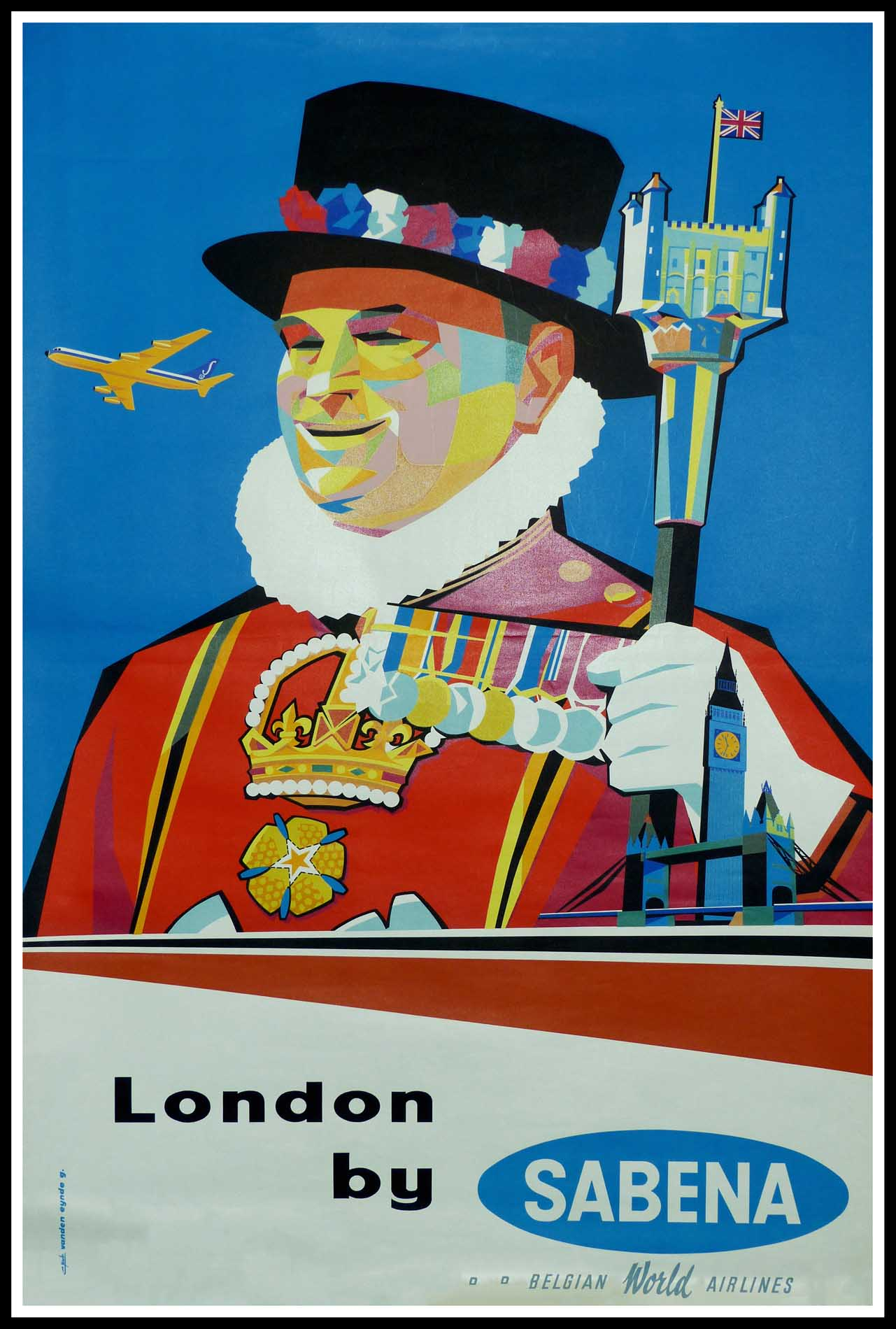 """(alt=""""Original vintage travel poster London by SABENA, Belgian world airlines , circa 1950 signed in the plate by VANDEN EYNDE and printed by Linsmô"""")"""