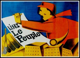 "(alt=""Original vintage poster Lisez Le Peuple , circa 1930 signed in the plate by F. Kersters and printed by unknown"")"