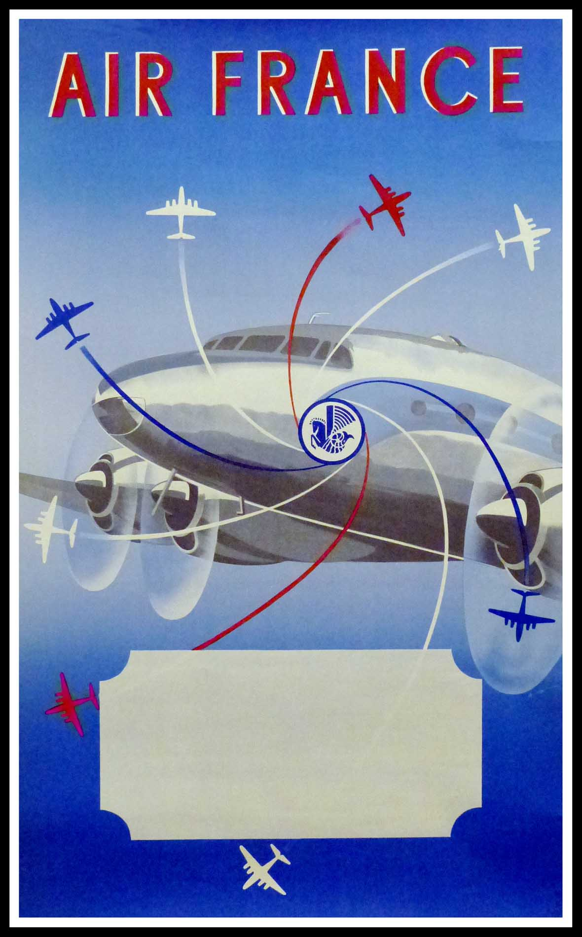 """(alt=""""original vintage poster AIR FRANCE 1951, signed in the plate by RENLUC and printed by Hubert Baille & Cie"""")"""