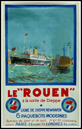 "(alt=""Original vintage poster, ""Le Rouen"", à la sortie de Dieppe, signed in the plate by B. Lachevre and printed by Sirven"")"
