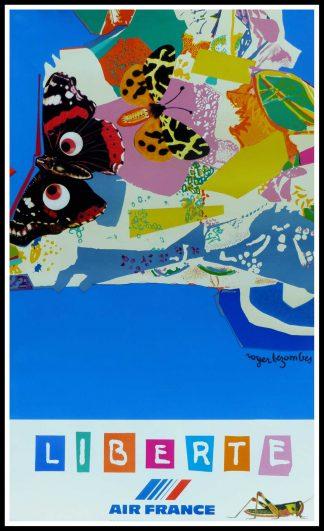 """(alt=""""Affiche originale de voyage Air France liberté 1981, signée dans l'affiche par Roger Bezombes et imprimée par Mourlot"""")"""