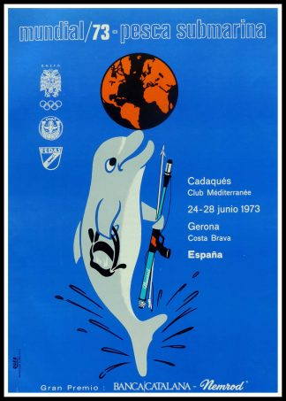 """(alt=""""Original vintage poster, World Underwater Hunting Championship, 1973 unknown artist and printed in Catalan by QUEB"""")"""