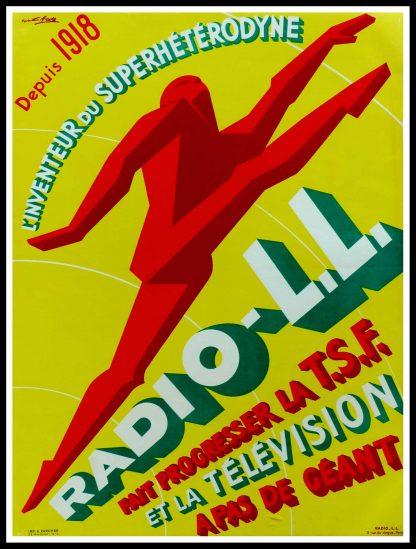 """(alt=""""Affiche originale - Radio LL fait progresser la TSF 1930, signée dans l'affiche par G.Favre et imprimée par Kacher."""