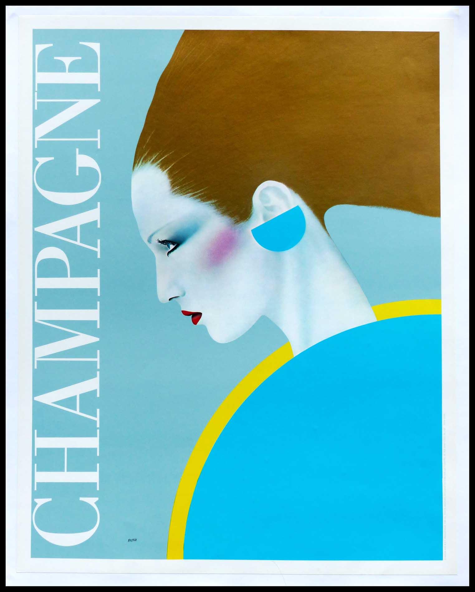 """(alt=""""Affiche originale, Champagne circa 1980 signée dans la planche par Razzia et imprimée par R.A.F Production"""")"""