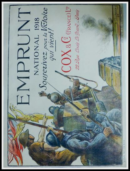 "(alt=""Original vintage war poster emprunt national 1918 signed in the plate by B.Chavannaz and printed by Crète, Paris"")"