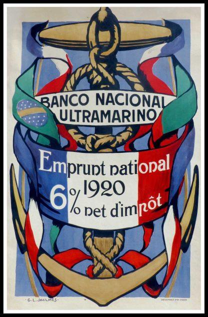 "(alt=""Original vintage bond war poster Banco Nacional Ultramarino - emprunt National- 1912 realised by JAULMES and printed by Devambez, Paris"")"