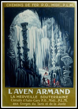 "(alt=""Original vintage travel poster L'aven Armand car circuit, 1930 signed in the plate by C.L.Eiffel and printed by Lucien Serre, Paris"")"