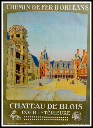 """(alt=""""Affiche originale - Chemin de fer d'Orléans, Chateau de Blois, circa 1930. Signée dans la planche par C.Duval et imprimée par F. Champenois"""")"""
