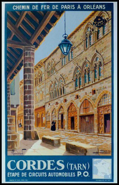 """(alt=""""Original vintage poster Chemin de fer de Paris à Orléans, Cordes (Tarn), 1933. Signed in the plate by Commarmond and Printed by Chaix, Paris"""")"""