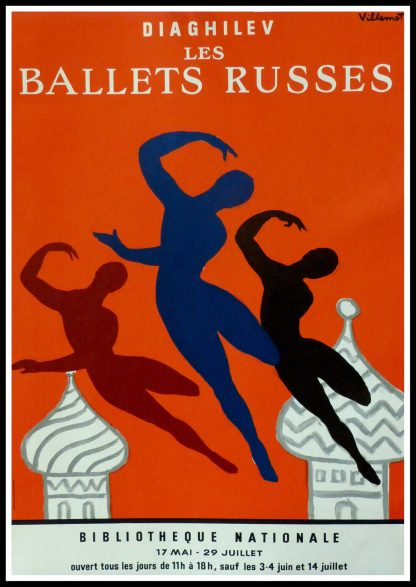 "(alt=""original ballet dance poster DIAGHILEV les ballets russes Bernard VILLEMOT 1979)"