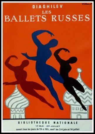 """(alt=""""Affiche originale Diaghilev, les ballets russes, 1979 signée dans la planche par Villemot et imprimée par BEDOS"""")"""