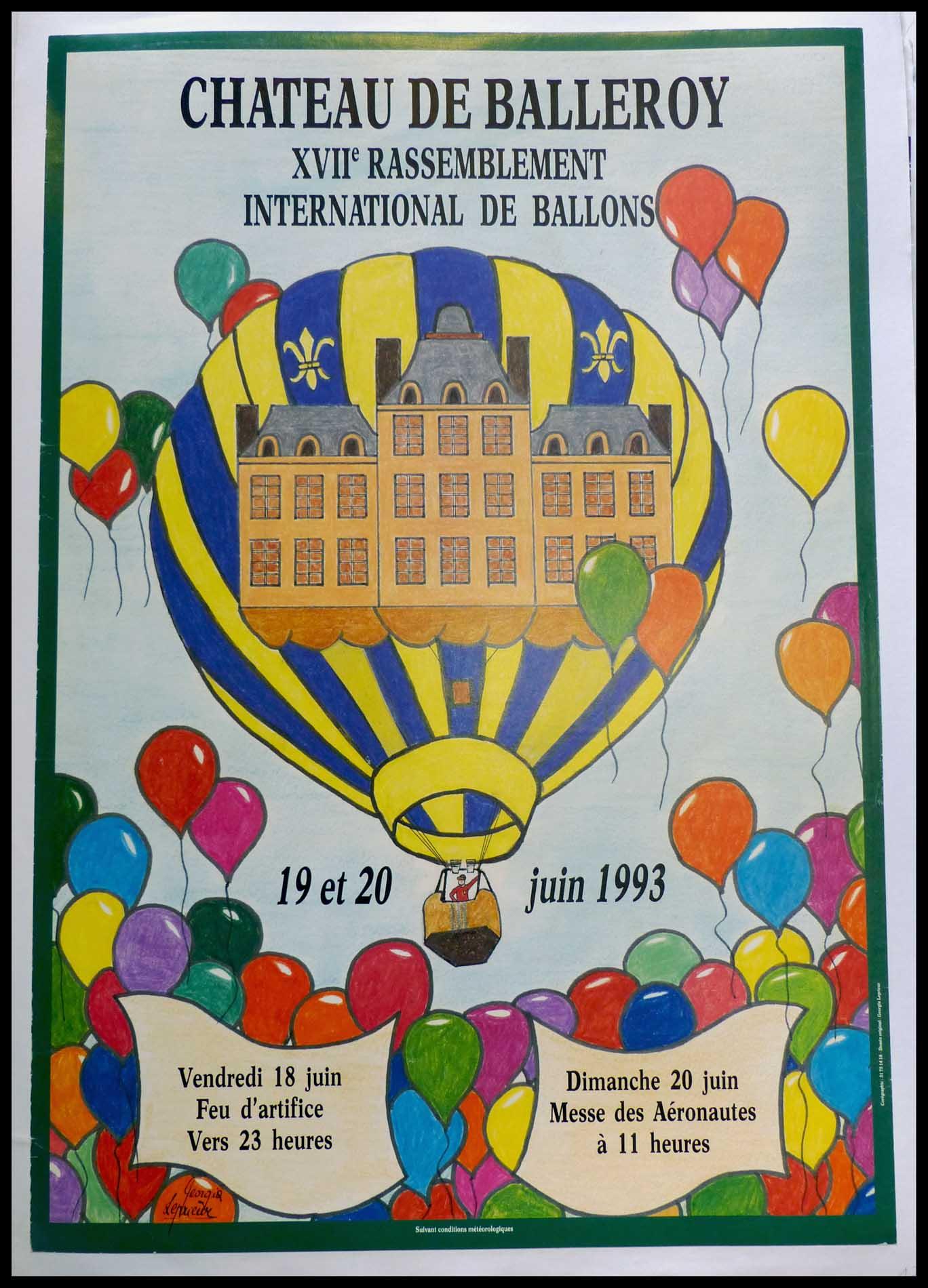 """(alt=""""Affiche originale - XVII Rassemblement International de Ballons au Chateau De Balleroy 1993, réalisée par LEPRIEUR et imprimée par SP"""")"""