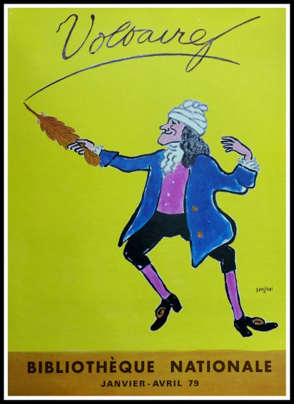 """(alt=""""Original vintage poster - Voltaire, 1978 signed in the plate by Raymond Savignac for the French National Library, printer unknow"""")"""