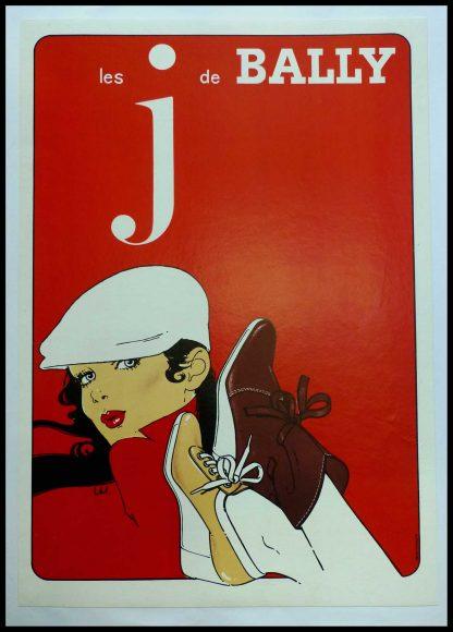 """(alt=""""affiche publicitaire originiale, les J de Bally 1980 signée dans l'affiche par Villemot et imprimée par IPA"""")"""