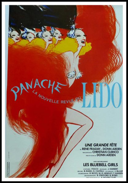 """(alt=""""Affiche ancienne originale, la nouvelle revue du Lido 1980, signée dans la planche par Gruau et imprimée par LaLande-Courbet Ed. Pub Cravenne"""")"""