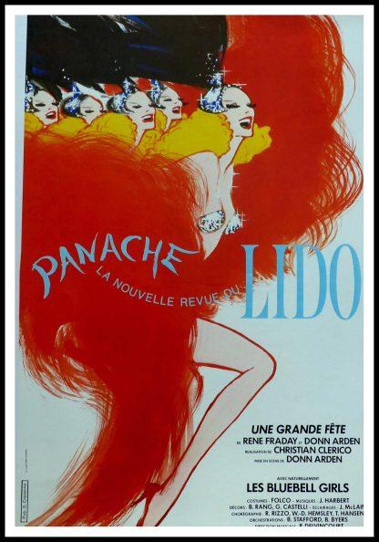 """(alt=""""Original vintage poster Panache, la nouvelle revue du Lido 1980, signed in the plate by Gruau and printed by LaLande-Courbet Ed. Pub Cravenne"""")"""