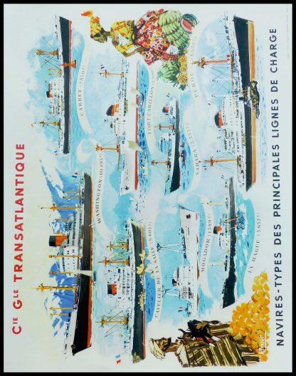 """(alt=Affiche ancienne de voyage, Cie Gle Transatlantique, 1950. Réalisée par A.Brenet et imprimée par Beuchet & Vanden Brugge"""")"""