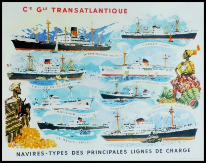 """(alt=""""Affiche ancienne de voyage, Cie Gle Transatlantique, 1950. Réalisée par A.Brenet et imprimée par Beuchet & Vanden Brugge"""")"""