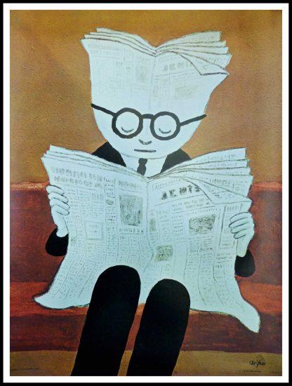 """(alt=""""affiche ancienne originale, l'Information 1974, signée dans la planche par Savignac, imprimée par Les éditions Braun"""")"""