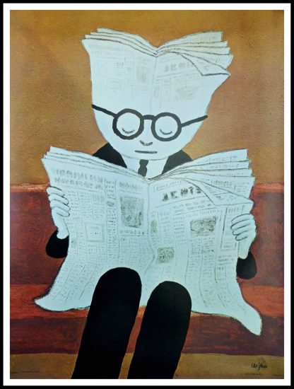 """(alt=""""Original vintage poster L'Information 1974 signed in the plate by R.Savignac and printed by Les éditions Braun"""")"""