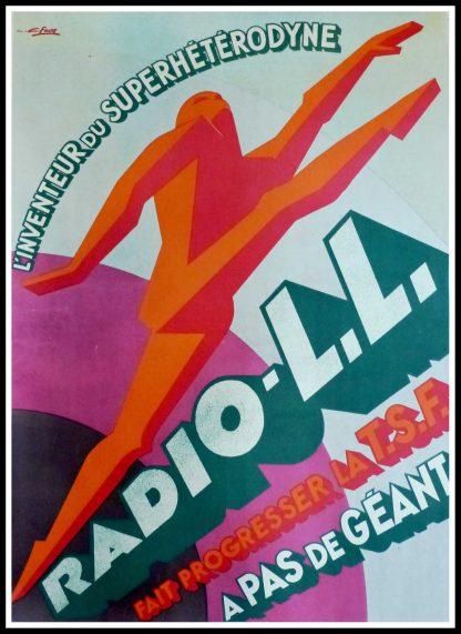 """(alt=""""Affiche de publicité - Radio LL fait progresser la TSF, 1930 signée dans l'affiche par G.Favre et imprimée par Karcher"""")"""