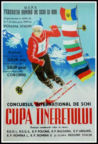 "(alt=""Original vintage poster, International Ski Competition in Romania 1959, printed by FSI and there is no signature"")"