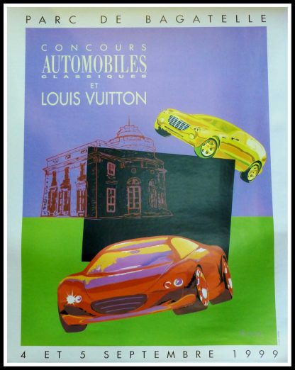 """(alt=""""Original vintage poster Classic Car Contest & Louis Vuitton Classic signed in the plate by Razzia and printed by Louis Vuitton A+ LINEN"""")"""