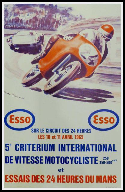 """(alt=""""Affiche originale 5e Critérium International de vitesse motocycliste et Essais des 24h, 1965 du Mans réalisée par Beligond et imprimée par Thivillier"""")"""