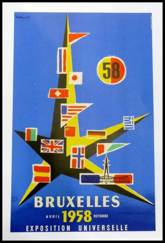 "(alt=""Original vintage poster Brussels World's Fair 1958, signed in the plate by Villemot and printer is unkown"")"