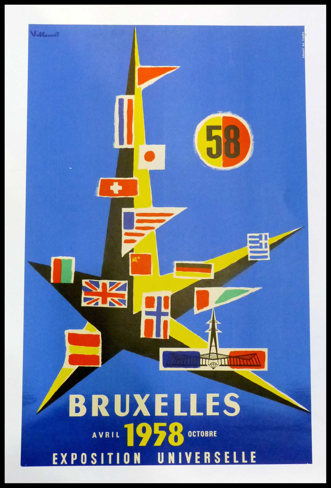 """(alt=""""Original vintage poster Brussels World's Fair 1958, signed in the plate by Villemot and printer is unkown"""")"""