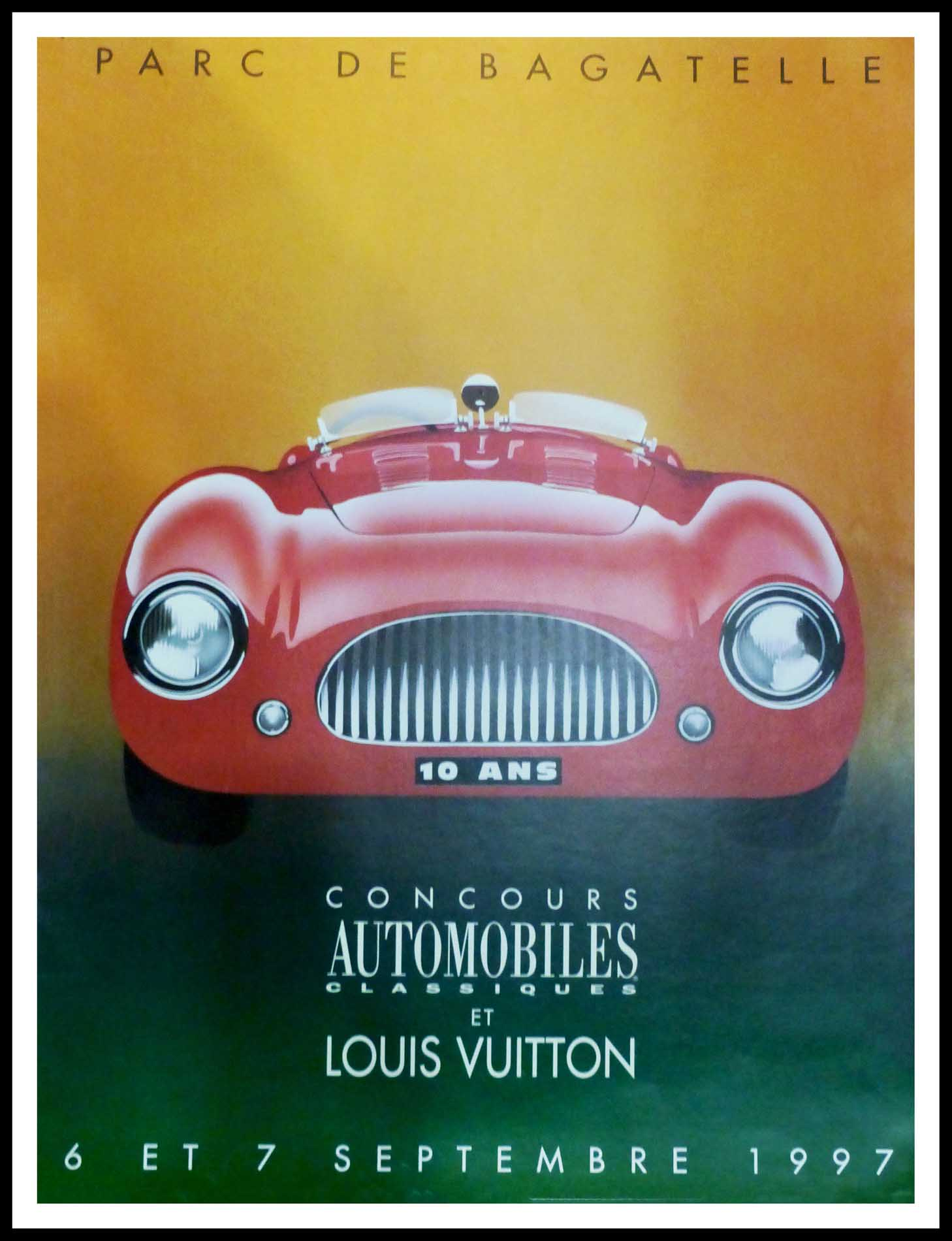"""(alt=""""Original vintage poster Classic Car Contest & Louis Vuitton 1997 signed by Razzia and printed by Louis Vuitton"""")"""
