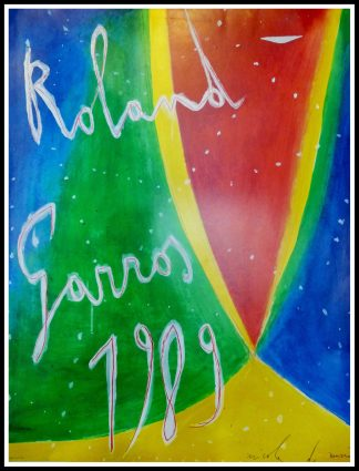 "(alt=""Original vintage sport poster, Roland Garros 1989 signed in the plate by Nicola de Maria and printed by FFT"")"