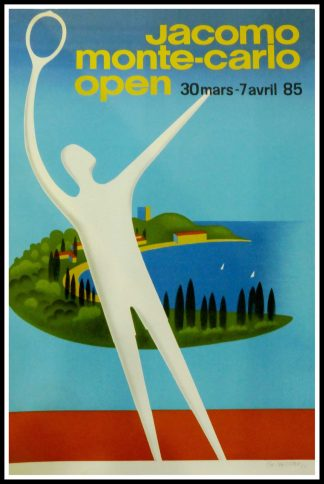 """(alt=""""Affiche ancienne de sport, Jacomo Monte Carlo Open - Monaco Open Tennis, 1985 signée au crayon par Fix Masseau et imprimée par IPA"""")"""