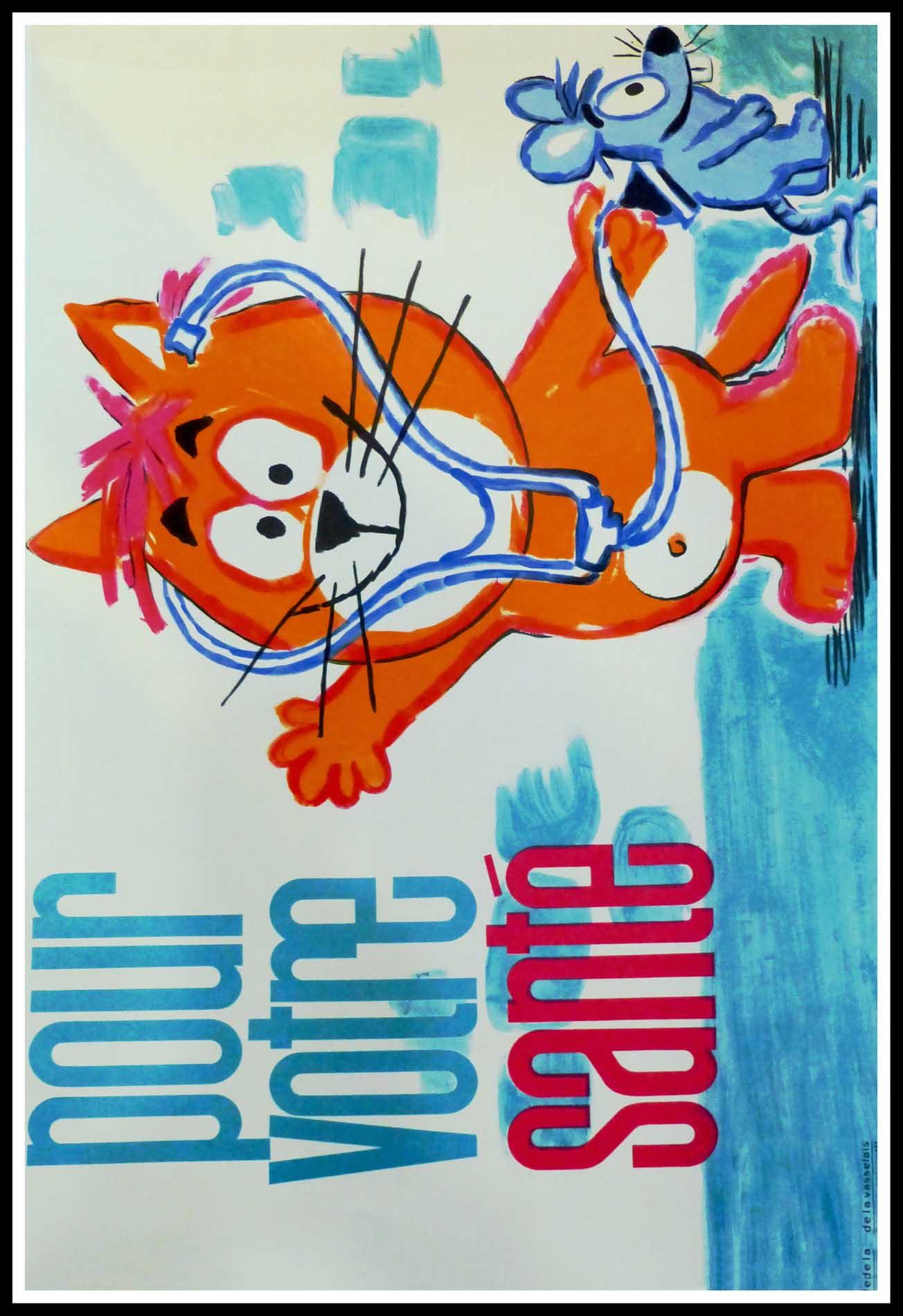 """(alt=""""Affiche publicitaire originale, Le Chat et la Souris Pour votre santé circa 1960, réalisée par Barberousse et imprimée par De la Vasselais"""")"""