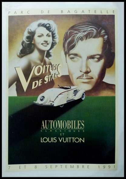 """(alt=""""Original vintage poster Classic Automobiles & Louis Vuitton Celebrities Car 1991 signed by Razzia and printer is unknow"""")"""