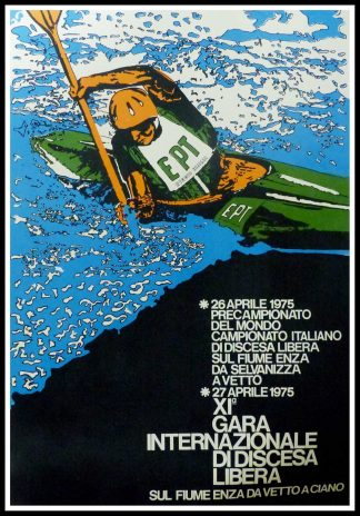 "(alt=""Original vintage poster, International Race Canoeing Championships in Italy 1975 realisation is unidentified and printing by FIC"")"
