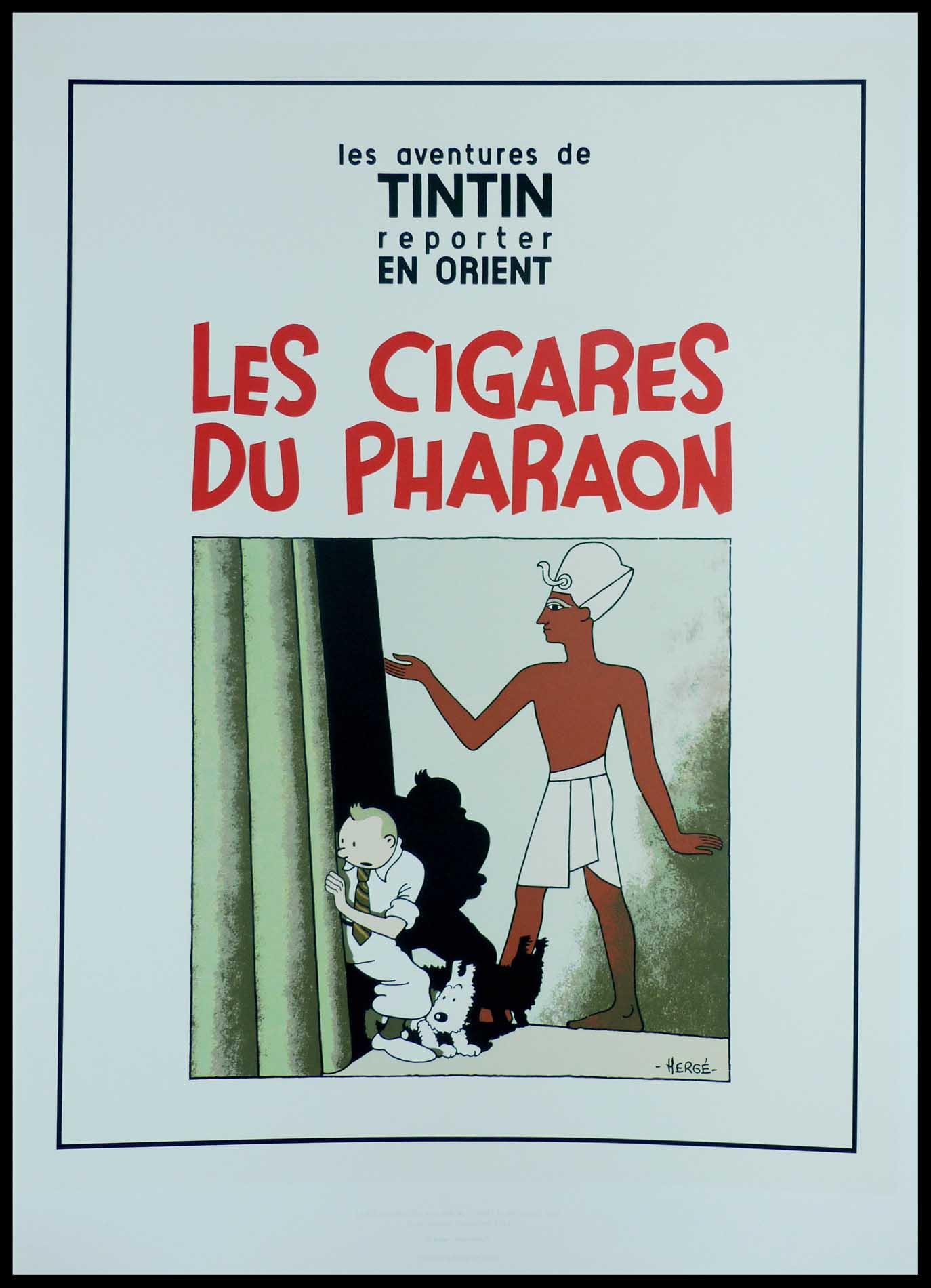 """(alt=""""Sérigraphie originale - Hergé, Les Cigares du Pharaon circa 1990, tirée à 2000 exs, éditées par Christian Debois edt pour Moulinsart"""")"""