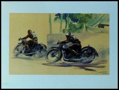 """(alt=""""Affiche originale de deux motards en course sur des Brough Superior circa 1930 signée dans l'affiche par GEO HAM et imprimée par Baratand Courteau"""")"""